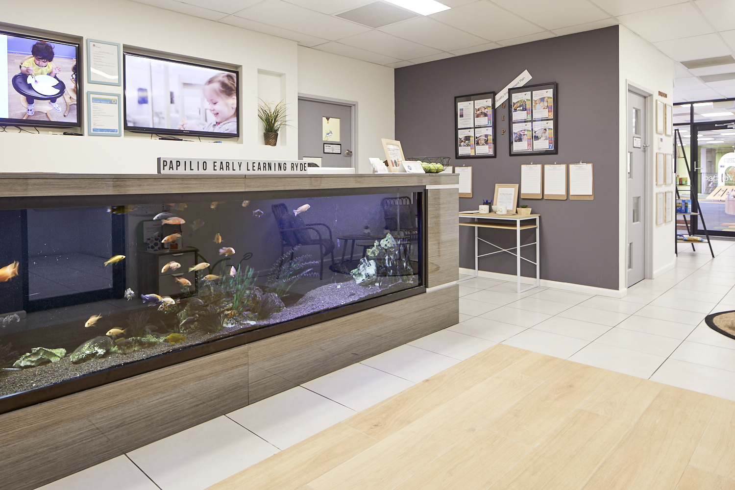 Child care centre foyer with fish tank at Papilio Ryde